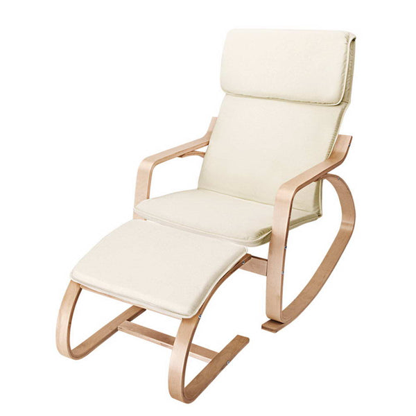 Birch Plywood Fabric Lounge Rocking Chair - Beige - with Foot Stool - Darkhorse Creations