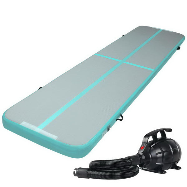 Everfit GoFun 4X1M Inflatable  Mat with Pump Tumbling Gymnastics Green