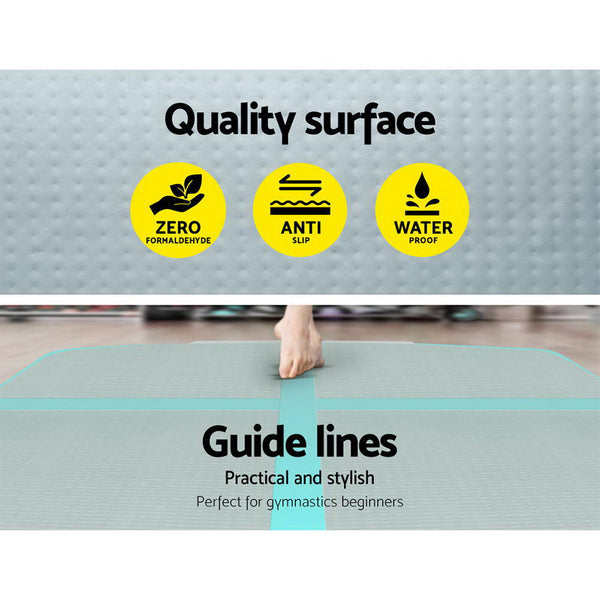 Everfit 3m x 1m  Mat Gymnastic Tumbling Mint Green and Grey