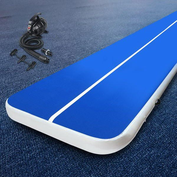 Everfit 4X2M Inflatable  Mat 20CM Thick with Pump Tumbling Gymnastics Blue