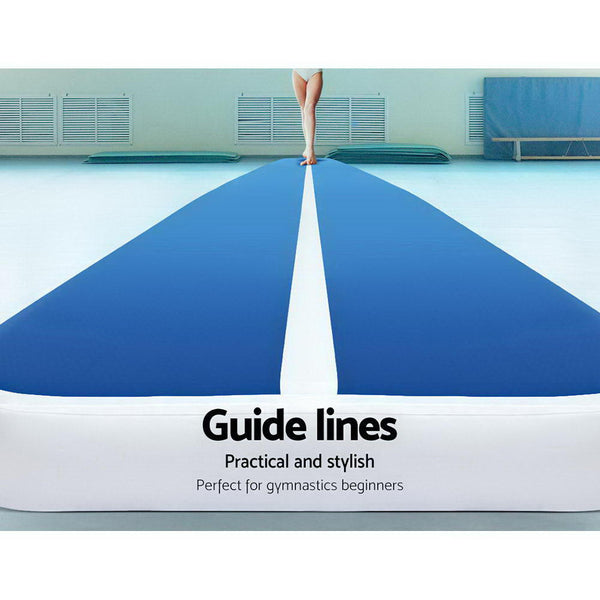 Everfit 8X1M Inflatable  Mat 20CM Thick with Pump Tumbling Gymnastics Blue
