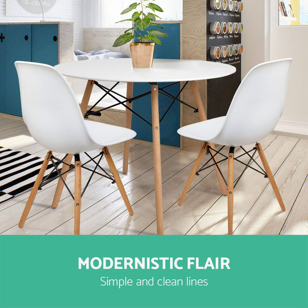Round Beech Timber Dining Table  White
