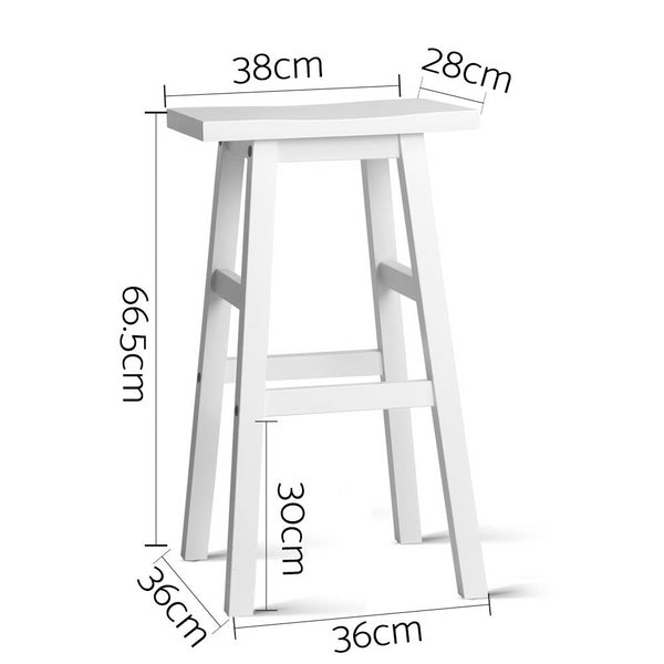 2 x Blair Wood Bar Stool (White) - Free Shipping - Darkhorse Creations