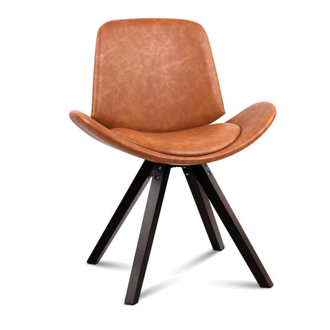 2 x Arcadia Dining Chairs PU Leather Cognac