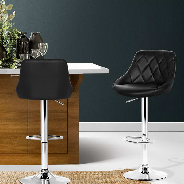 2x Bar Stools Kitchen Gas Lift Swivel Chairs Leather Chrome Black