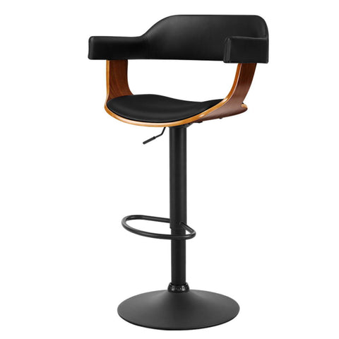 1 x Wooden Bar Stools Kitchen Swivel Gas Lift Bar Stool Chairs Leather Black