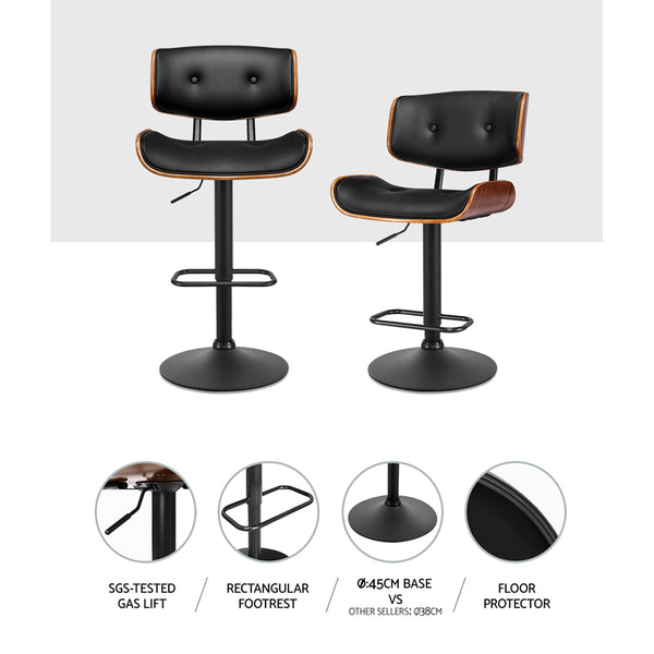 Kitchen Bar Stool Gas Lift Stool Chairs Swivel Barstool Leather Black x1