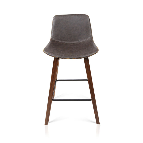 Set of 2 PU Leather Bar Stools  Walnut