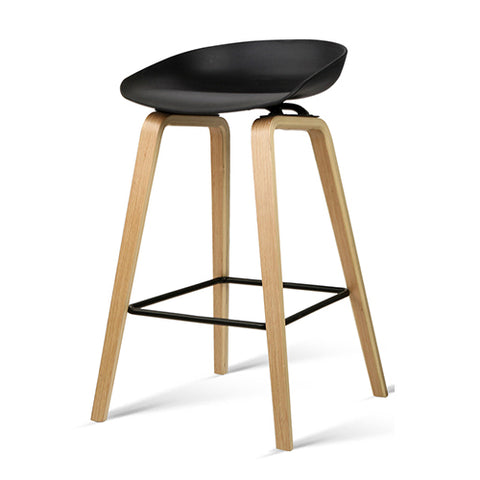 Set of 2 Wooden Barstools with Metal Footrest Black - Darkhorse Creations