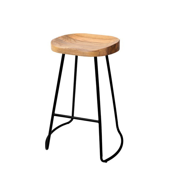 Set of 2 Wooden Backless Bar Stools Natural 65cm