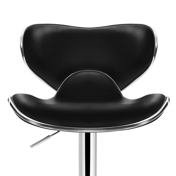 Set of 2 Swivel PU Leather Bar Stool  Black
