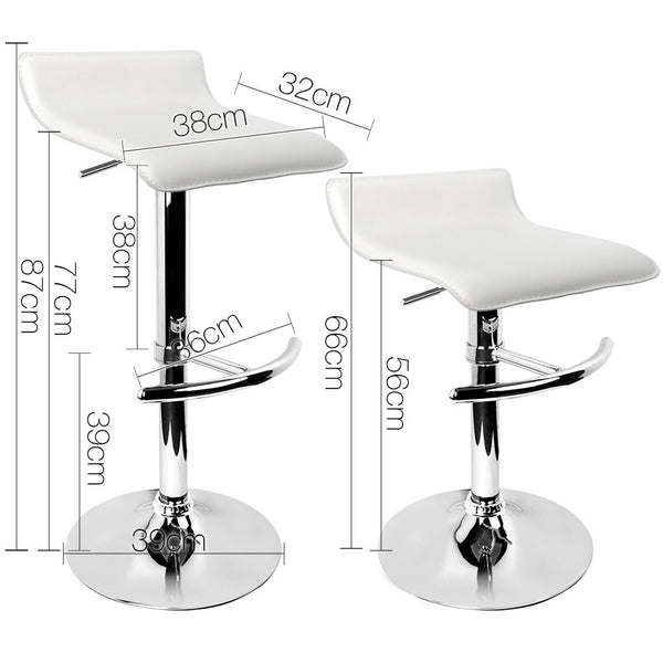 2 x Astrid Faux Leather Bar Stools (White) - Free Shipping - Darkhorse Creations