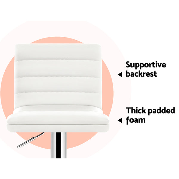 Set of 2 PU Leather Bar Stool  White