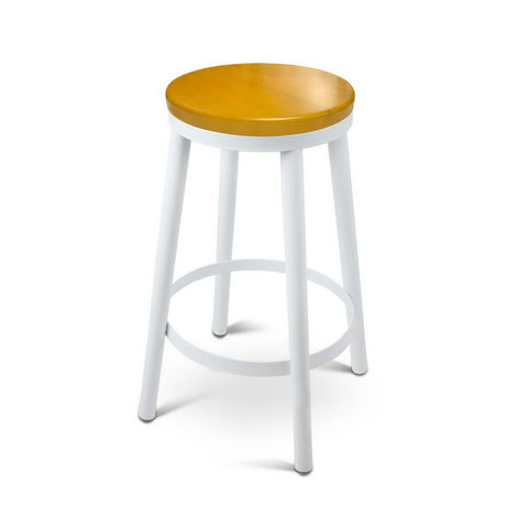 Set of 2 Round Stackable Bar Stools White