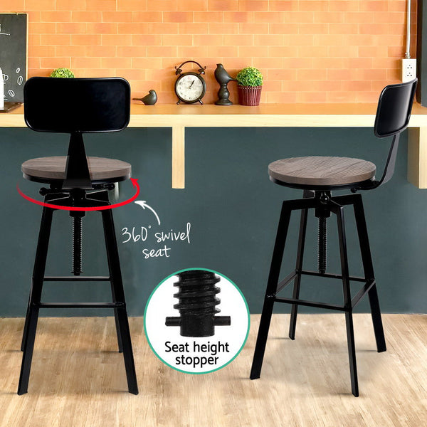 Industrial Bar Stool Adjustable Height 63cm  -79cm (Elm Wood/ Black) - Free Shipping - Darkhorse Creations
