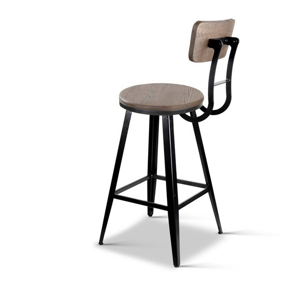 Industrial Bar Stool 66cm (Black/Brown) - Free Shipping - Darkhorse Creations