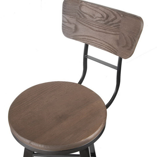 Industrial Bar Stool 66cm Black and Brown