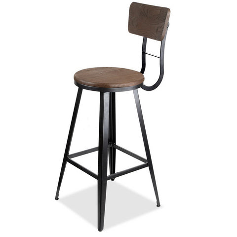 Industrial Bar Stool 76cm (Black/Brown) - Free Shipping - Darkhorse Creations