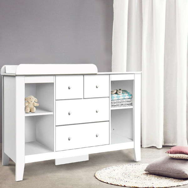 Keezi  Change Table with Drawers  White