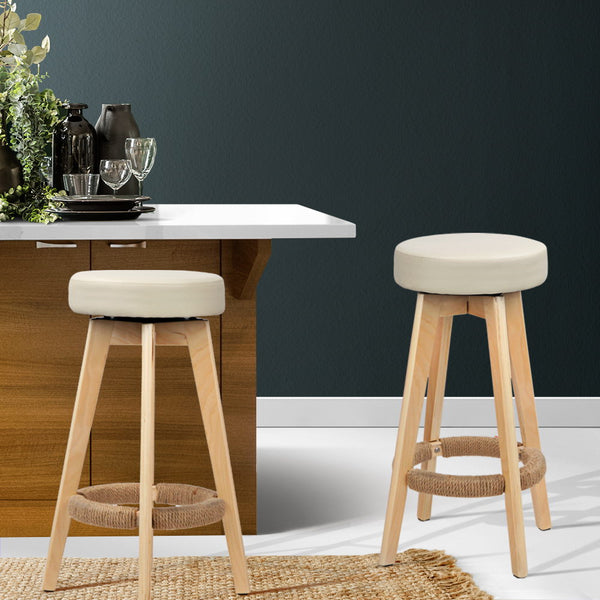 2x Swivel Seat Bar Stools PU Leather (Beige) - FREE SHIPPING AUSTRALIA WIDE - Darkhorse Creations