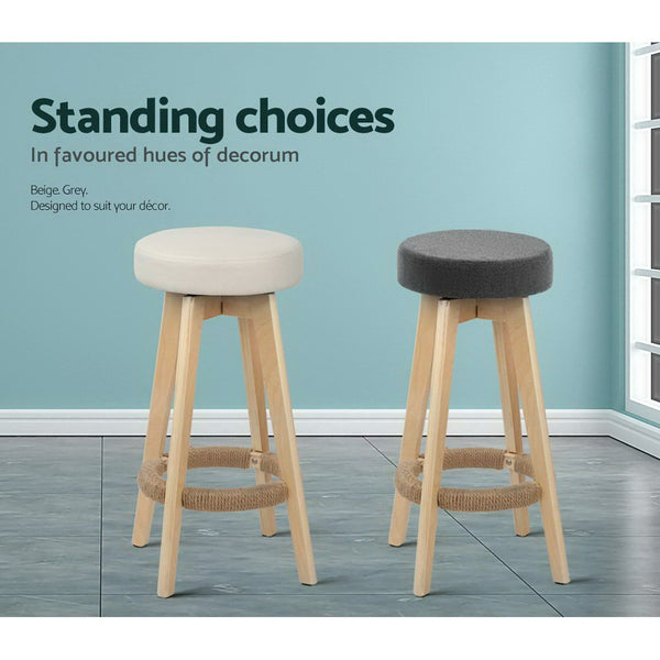2x Swivel Seat Bar Stools (Grey) - FREE SHIPPING AUSTRALIA WIDE - Darkhorse Creations