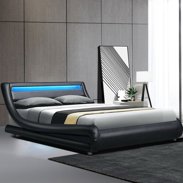 LED Bed Frame Queen  Base Mattress Platform Black Leather Wooden ALEX