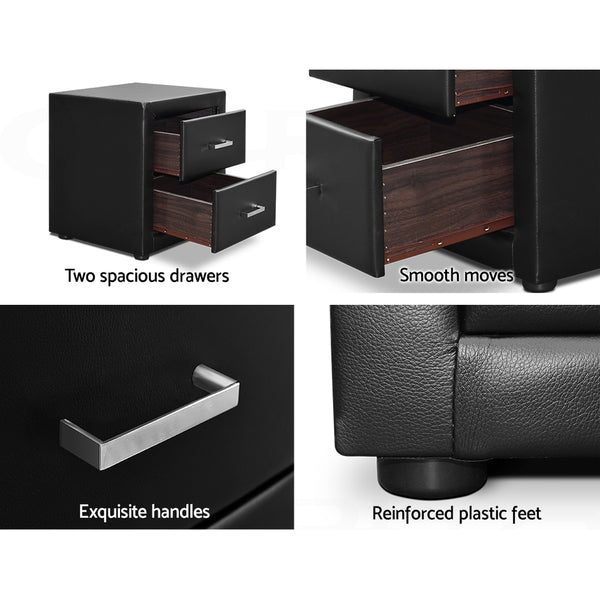 Stella Faux Leather Bedside Table Black