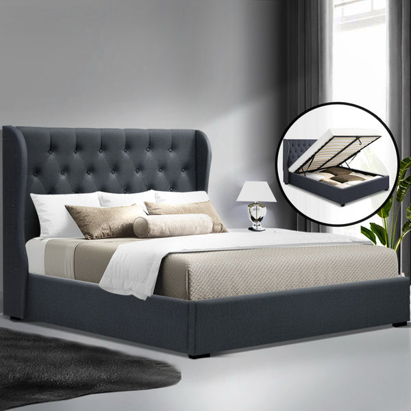 Queen  Gas Lift Bed Frame  Charcoal