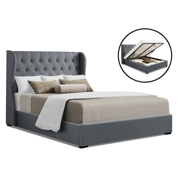Queen  Gas Lift Bed Frame Base With Storage Mattress Grey Fabric Wooden