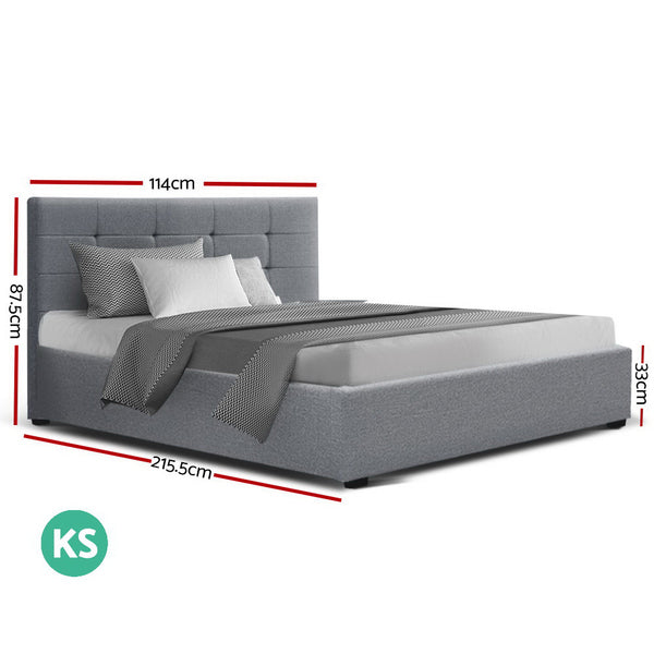Colton Gas Lift Bed Frame Grey Fabric King Single