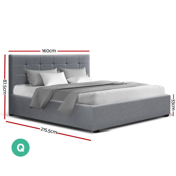 Colton Gas Lift Bed Frame Grey Fabic (Queen) - Free Shipping