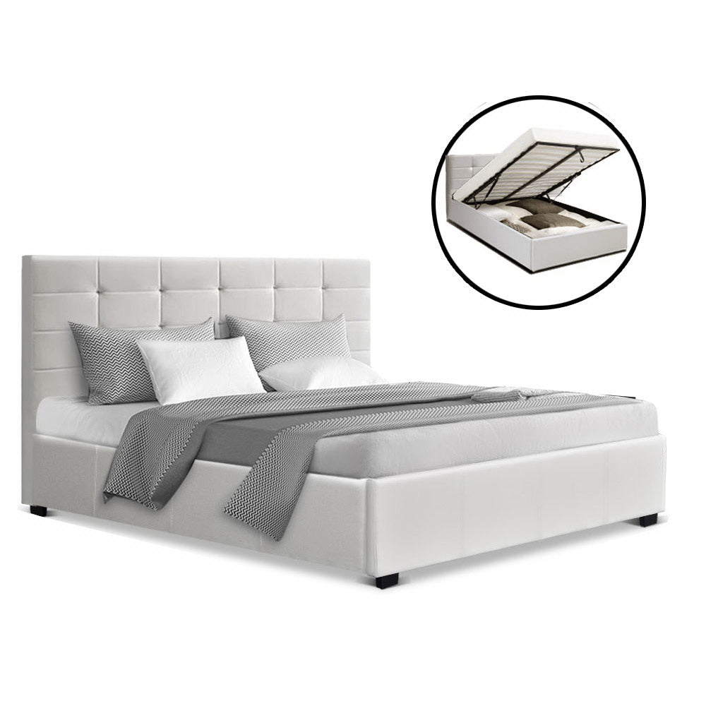 Colton Gas Lift Bed Frame White Faux Leather Queen