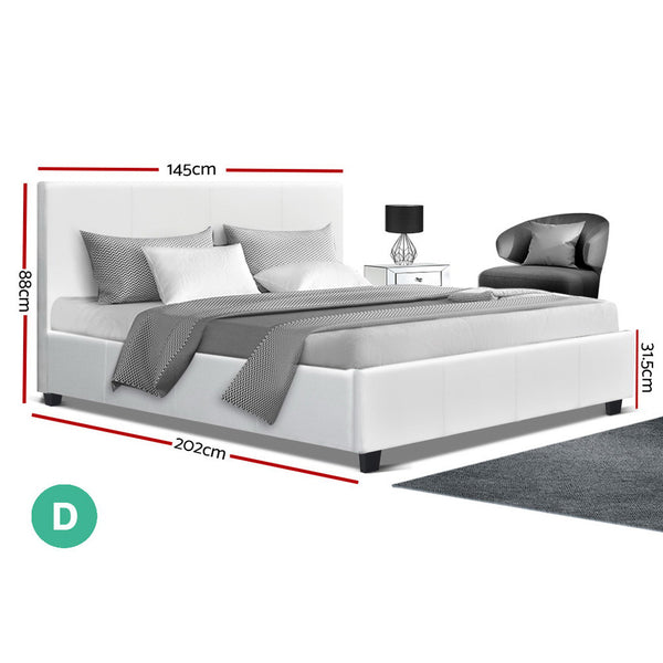 Double Full  Bed Frame Base Mattress Platform White Leather Wooden NEO