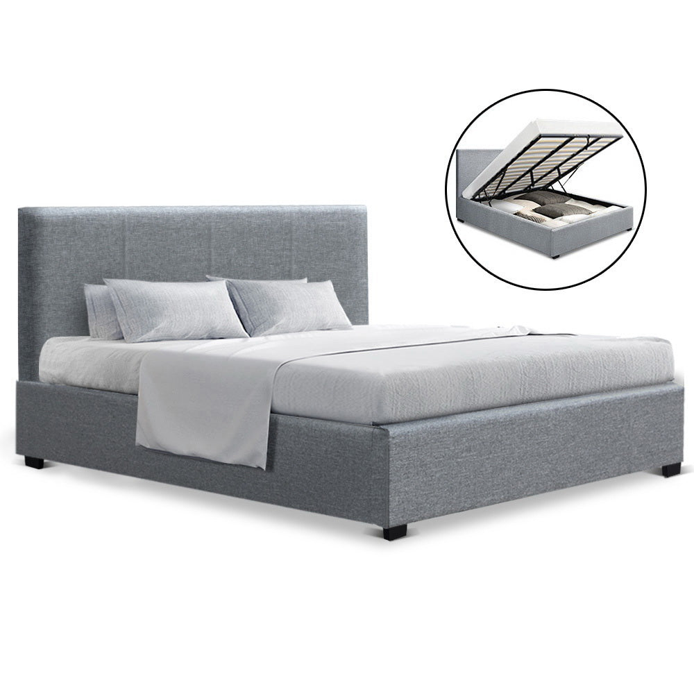 King  Gas Lift Bed Frame Base With Storage Mattress Grey Fabric NINO