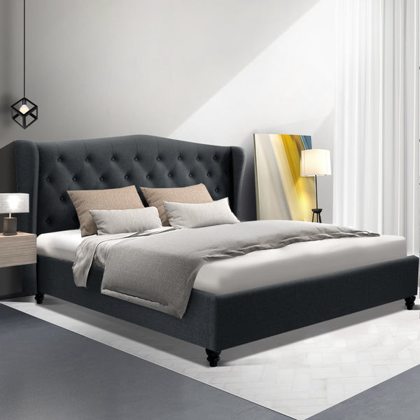 Piper Winged Linen Bedframe King Charcoal