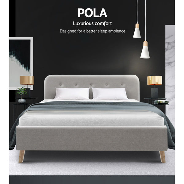 Double Full  Bed Frame Base Mattress Fabric Wooden Beige POLA