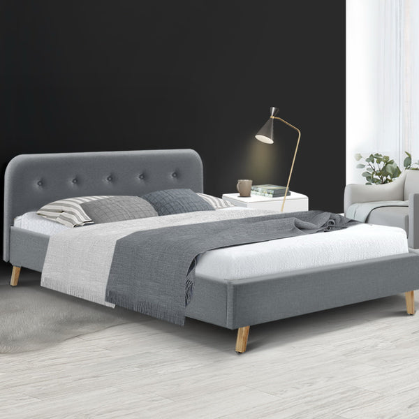 Double Full  Bed Frame Base Mattress Fabric Wooden Grey POLA