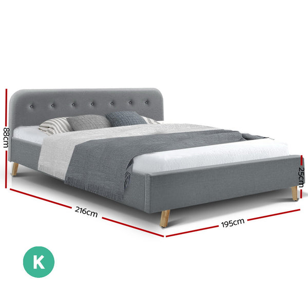 King  Bed Frame Base Mattress Fabric Wooden Grey POLA