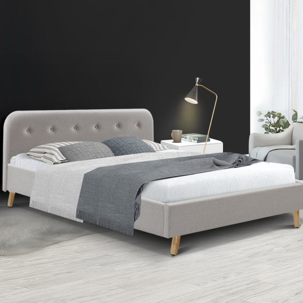 Queen  Bed Frame Base Mattress Fabric Wooden Beige POLA