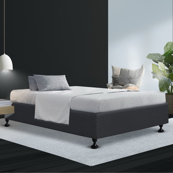 King Single  Bed Base Frame Mattress Platform Fabric Wooden Charcoal TOMI