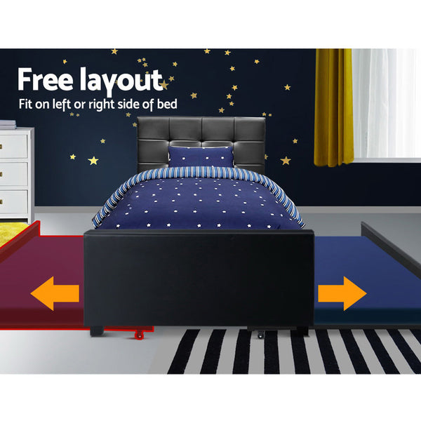 King Single Size Trundle Bed Frame - Black - Darkhorse Creations