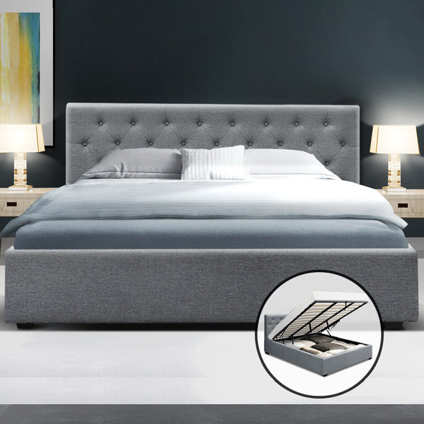 King  Gas Lift Bed Frame Base Mattress Platform Fabric Wooden Grey WARE