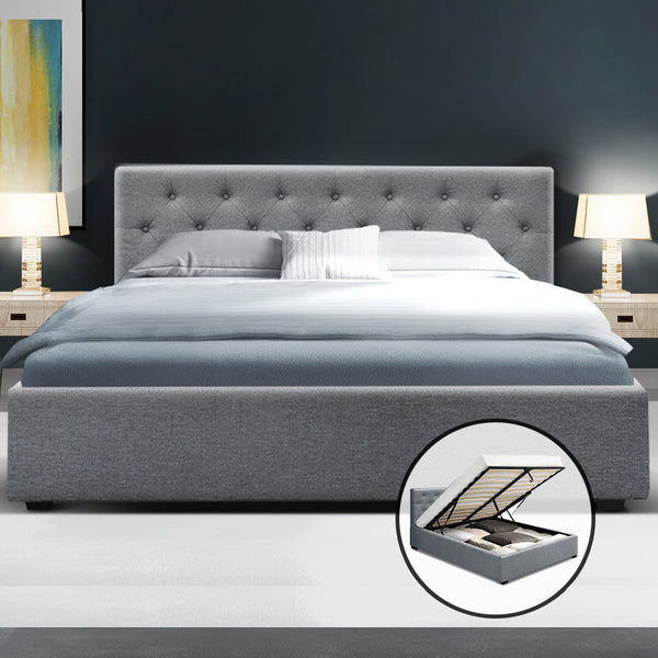 Queen  Gas Lift Bed Frame Base Mattress Platform Fabric Wooden Grey WARE