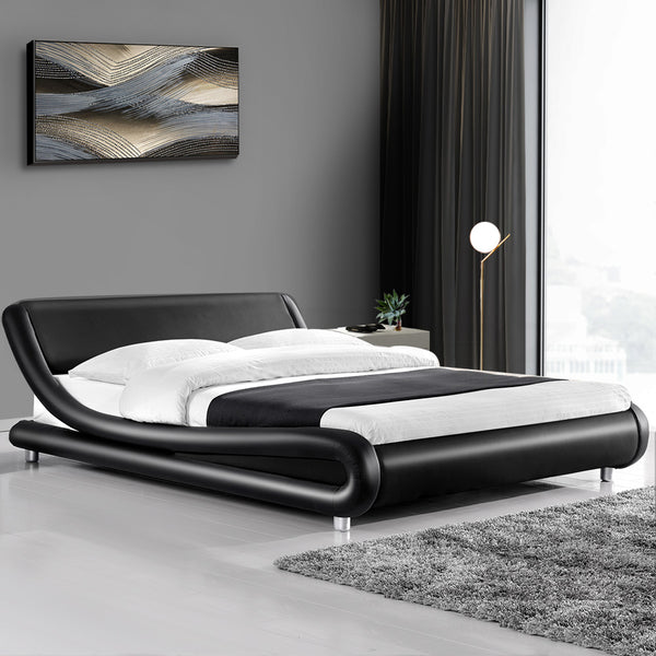 Coby Faux Leather Bed Frame King Black