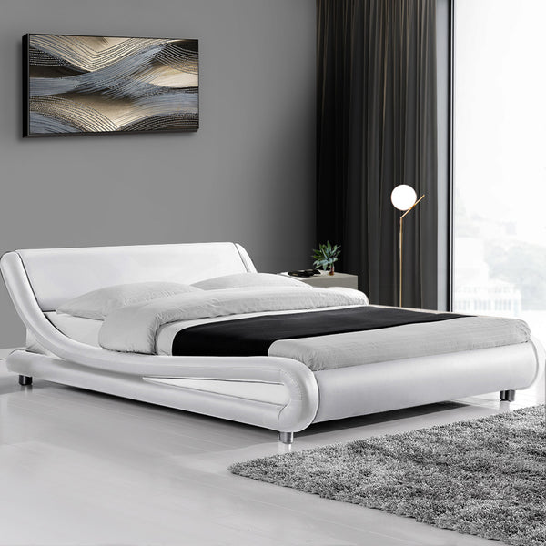 Coby Faux Leather Bed Frame Queen White