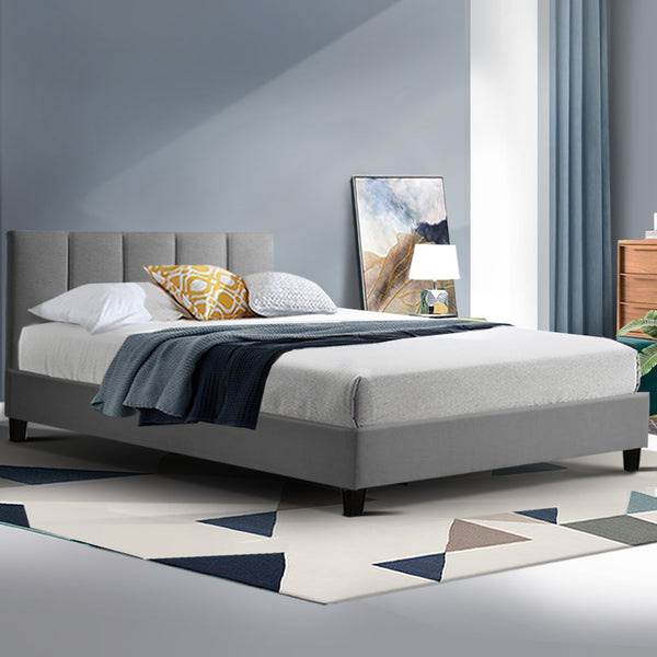 Bed Frame King Single Size Base Mattress Platform Fabric Wooden ANNA Grey
