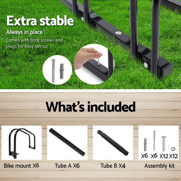 Portable Bike 6 Parking Rack Bicycle Instant Storage Stand  Black