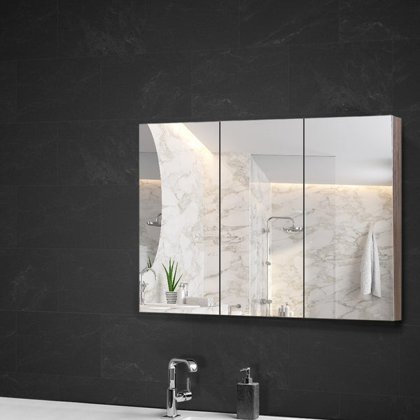 Cefito Bathroom Vanity Mirror with Storage Cabinet  Natural