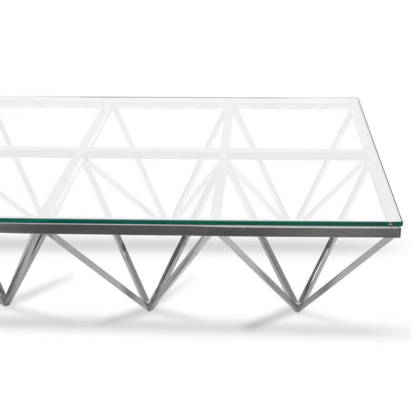 Alistair Coffee Table 1.2m Stainless Steel and Glass