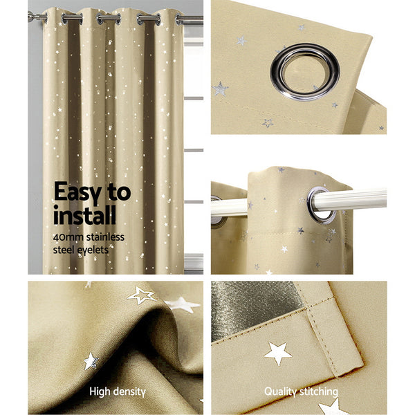 Art Queen 2 Star Blockout 300x230cm Blackout Curtains - Latte